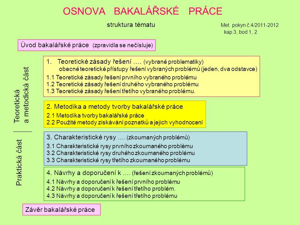 OSNOVA BAKALÁŘSKÉ PRÁCE struktura tématu Met. pokyn č. 4/2011-2012 kap