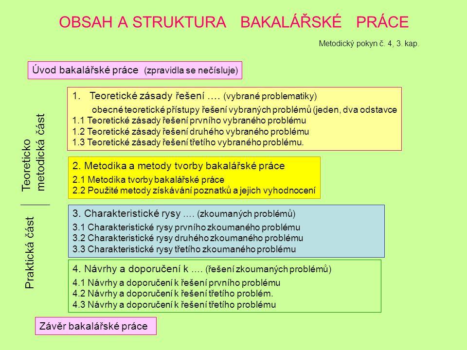 OBSAH A STRUKTURA BAKALÁŘSKÉ PRÁCE Metodický pokyn č. 4, 3. kap.