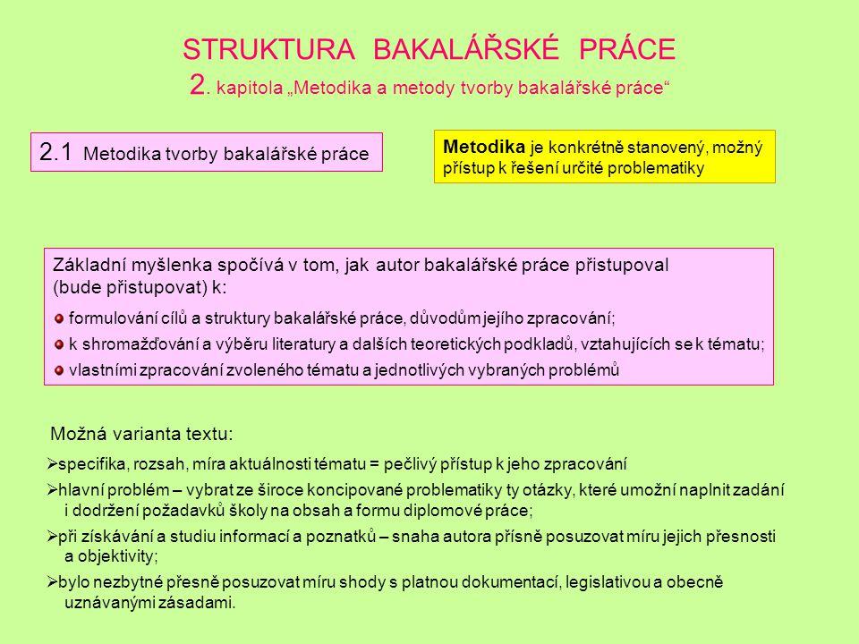 STRUKTURA BAKALÁŘSKÉ PRÁCE 2