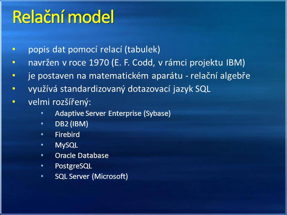 Relační model popis dat pomocí relací (tabulek)