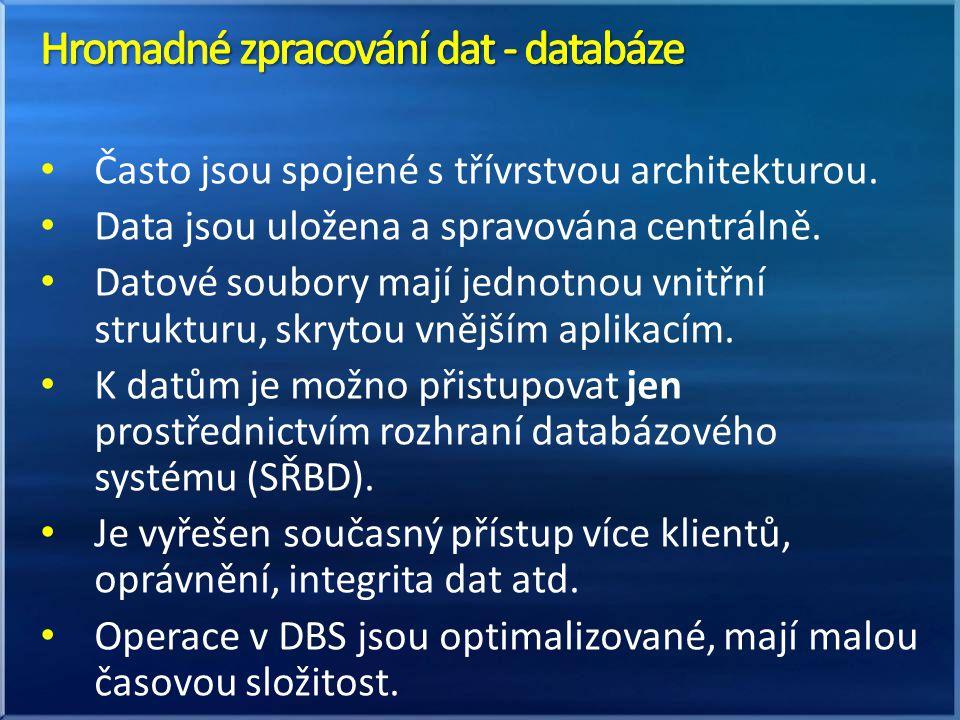 Hromadné zpracování dat - databáze