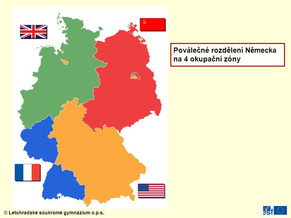 Poválečné rozdělení Německa na 4 okupační zóny