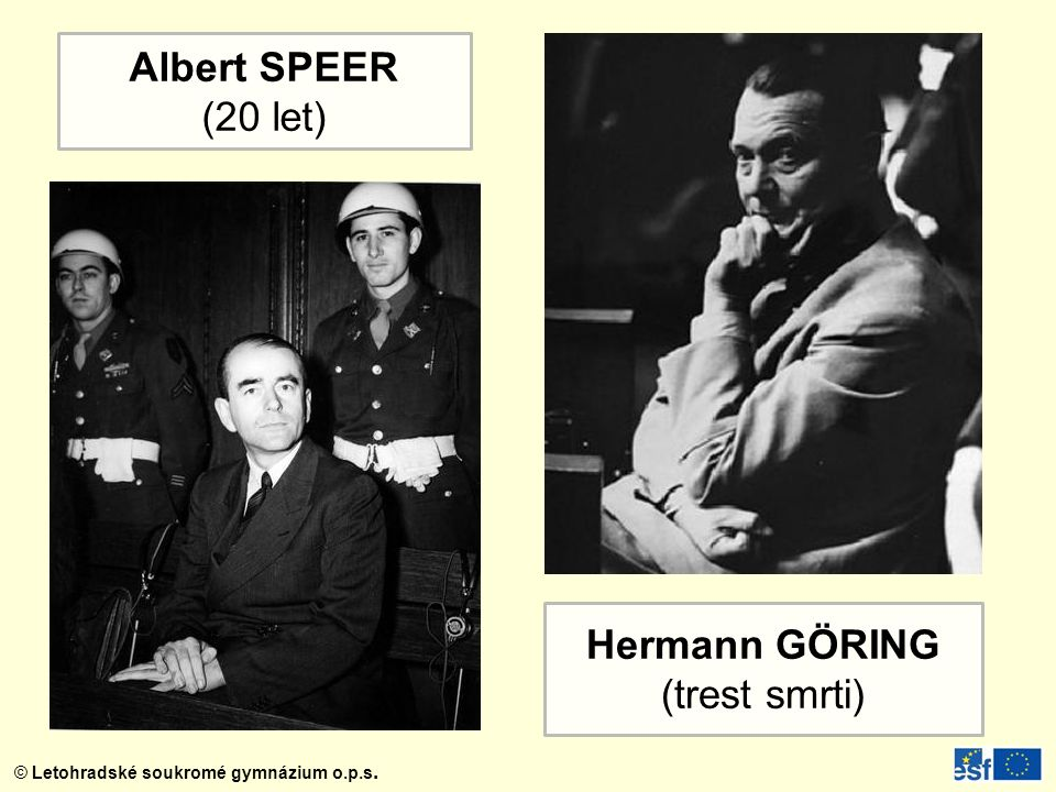 Albert SPEER (20 let) Hermann GÖRING (trest smrti)