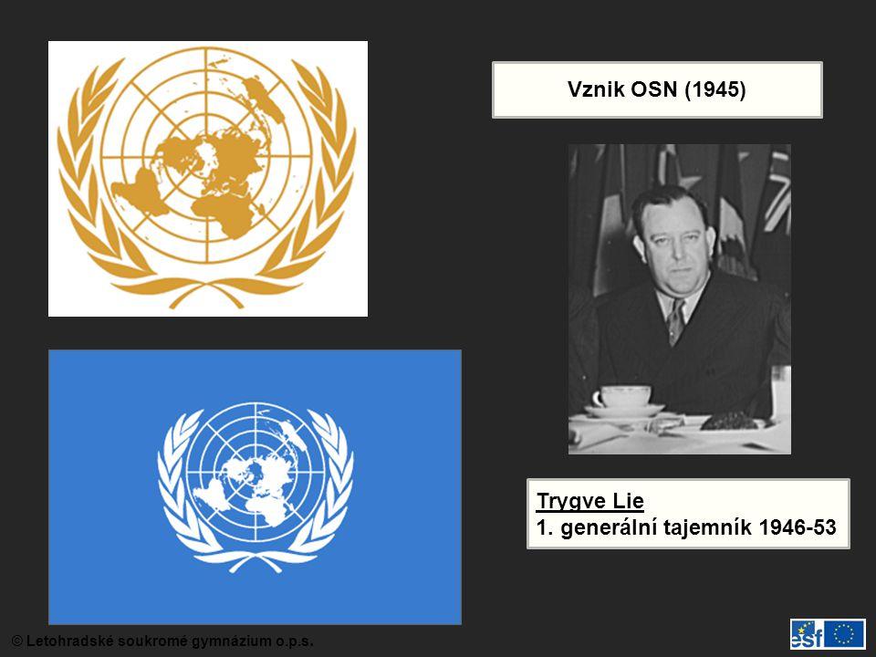 Vznik OSN (1945) Trygve Lie 1. generální tajemník 1946-53