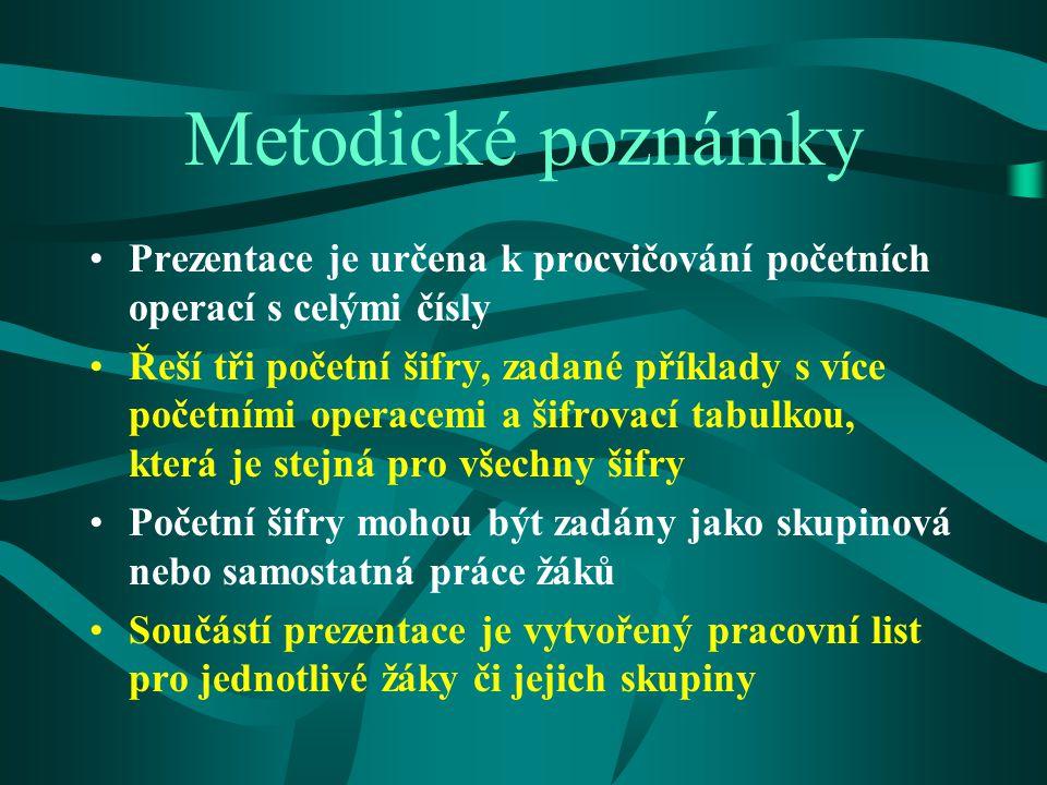Metodické poznámky Prezentace je určena k procvičování početních operací s celými čísly.