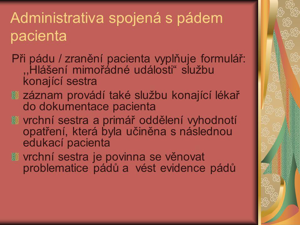Administrativa spojená s pádem pacienta