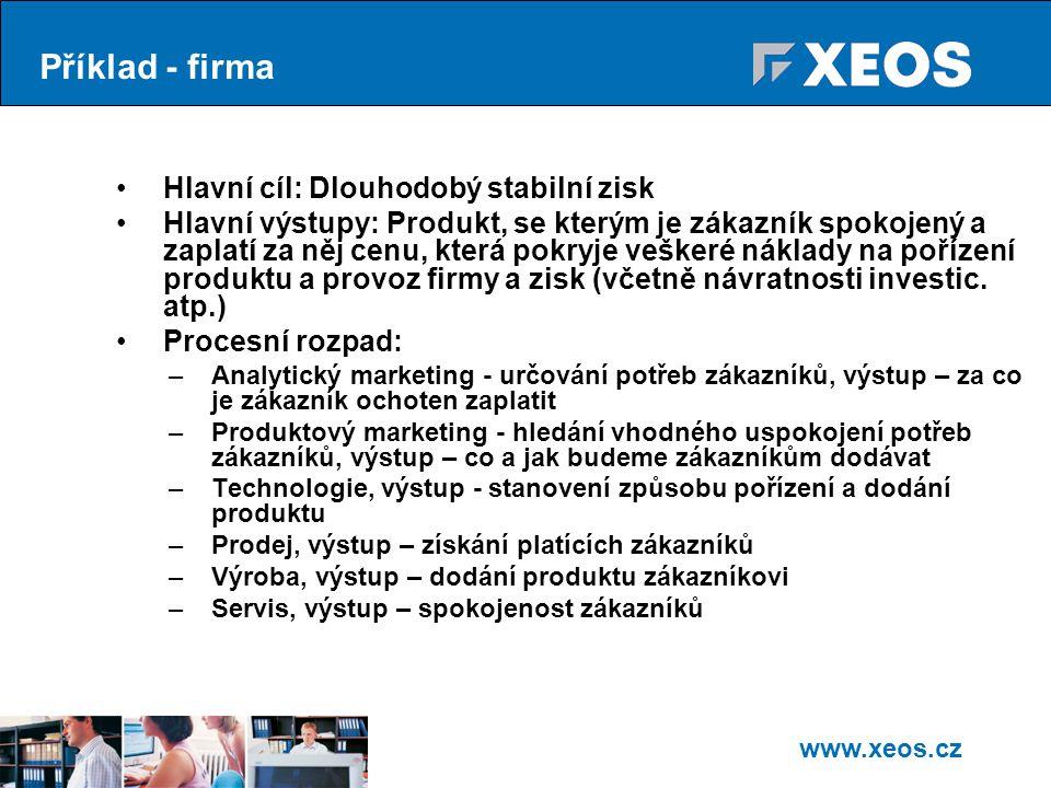 Příklad - firma Hlavní cíl: Dlouhodobý stabilní zisk