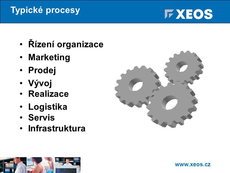 Typické procesy Řízení organizace Marketing Prodej Vývoj Realizace Logistika Servis Infrastruktura
