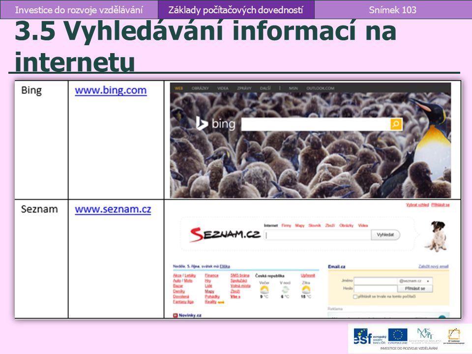 3.5 Vyhledávání informací na internetu
