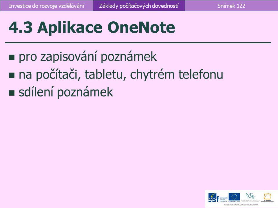 4.3 Aplikace OneNote pro zapisování poznámek