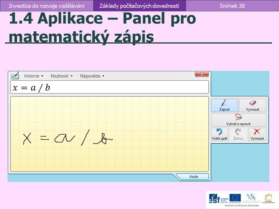1.4 Aplikace – Panel pro matematický zápis