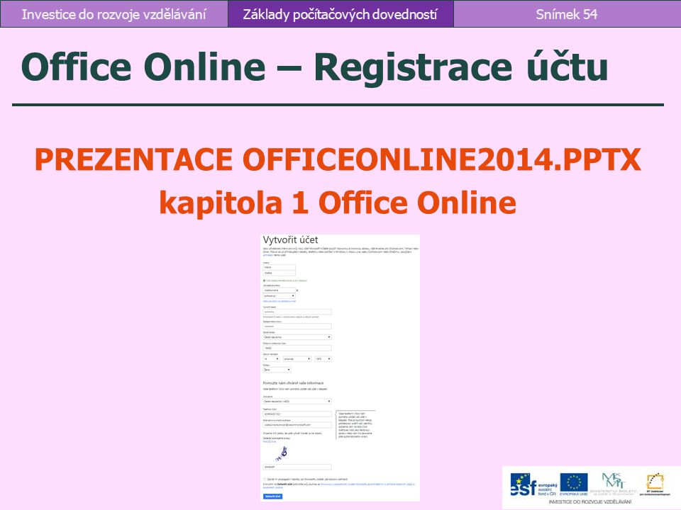 Office Online – Registrace účtu