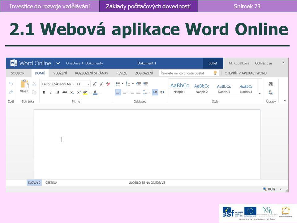 2.1 Webová aplikace Word Online