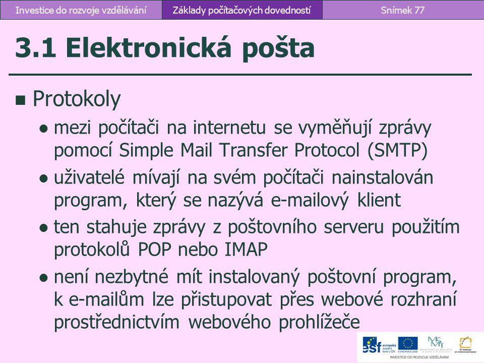 3.1 Elektronická pošta Protokoly