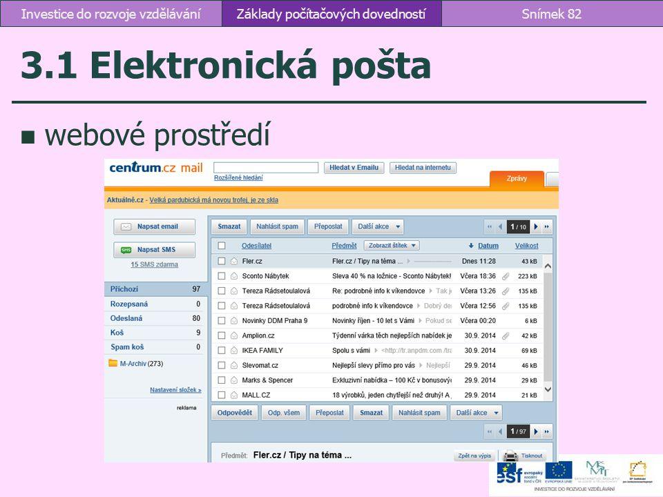 3.1 Elektronická pošta webové prostředí