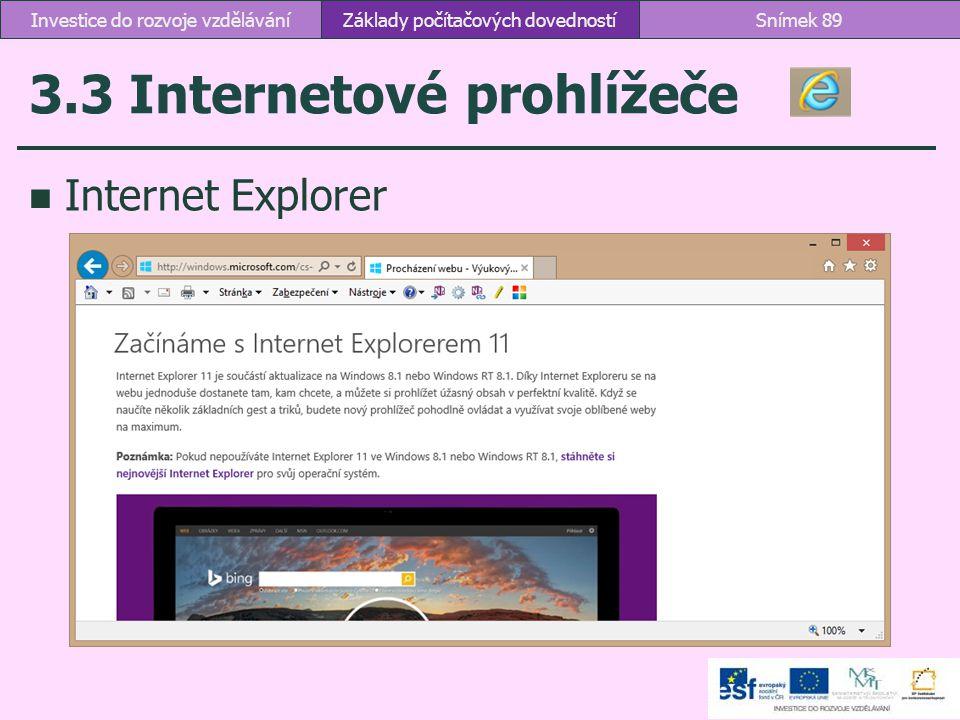 3.3 Internetové prohlížeče