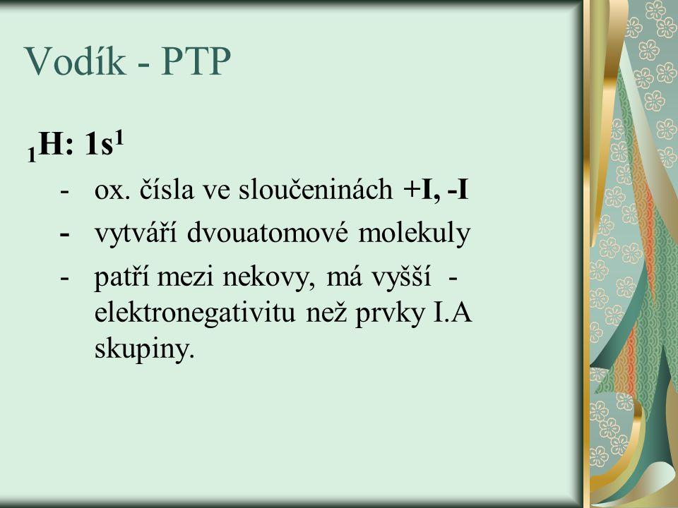 Vodík - PTP 1H: 1s1 - ox. čísla ve sloučeninách +I, -I