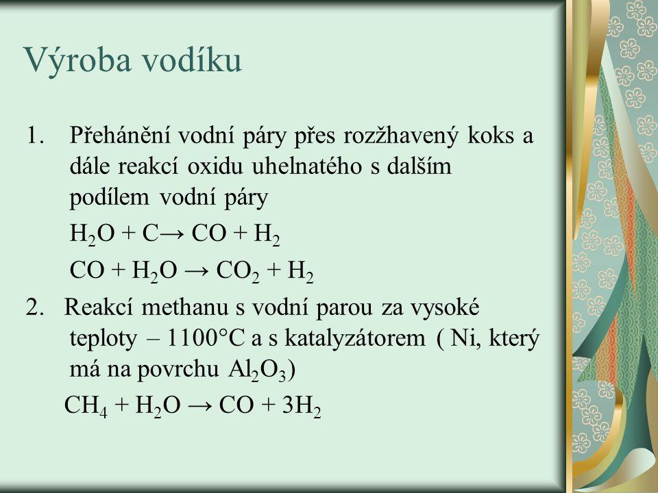 Výroba vodíku Přehánění vodní páry přes rozžhavený koks a dále reakcí oxidu uhelnatého s dalším podílem vodní páry.