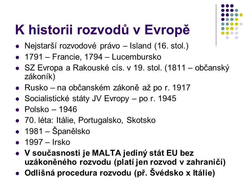 K historii rozvodů v Evropě