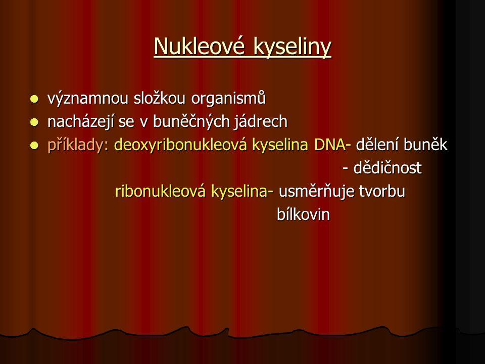 Nukleové kyseliny významnou složkou organismů