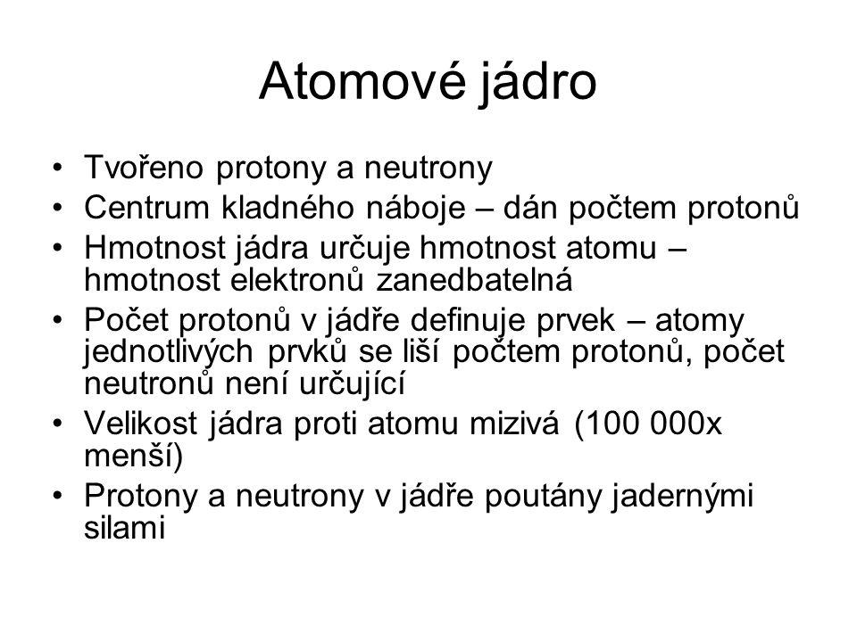 Atomové jádro Tvořeno protony a neutrony