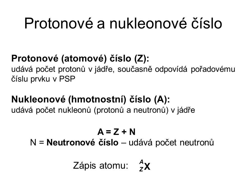 Protonové a nukleonové číslo