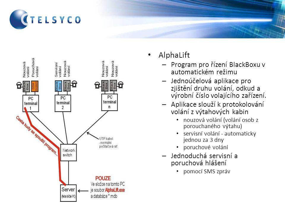 AlphaLift Program pro řízení BlackBoxu v automatickém režimu