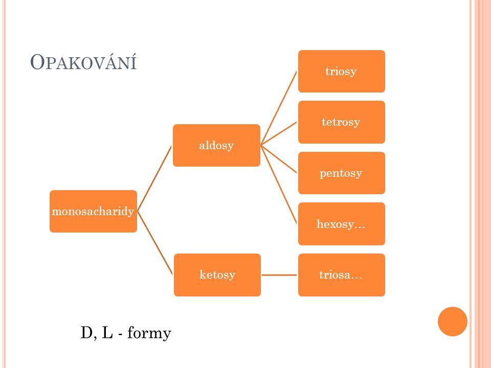 Opakování D, L - formy monosacharidy aldosy triosy tetrosy pentosy