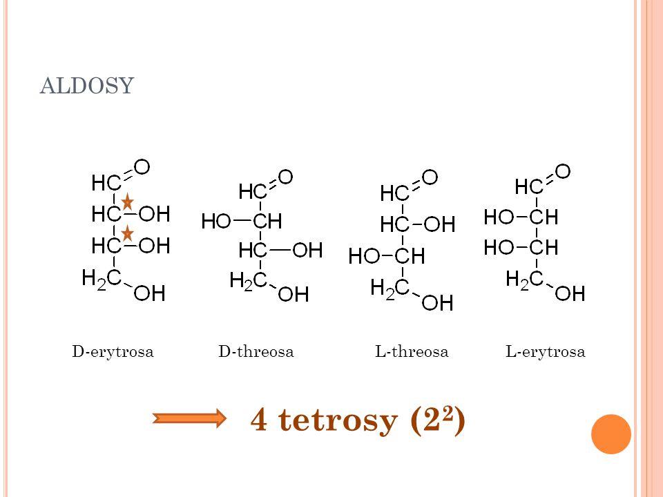 aldosy D-erytrosa D-threosa L-threosa L-erytrosa 4 tetrosy (22)