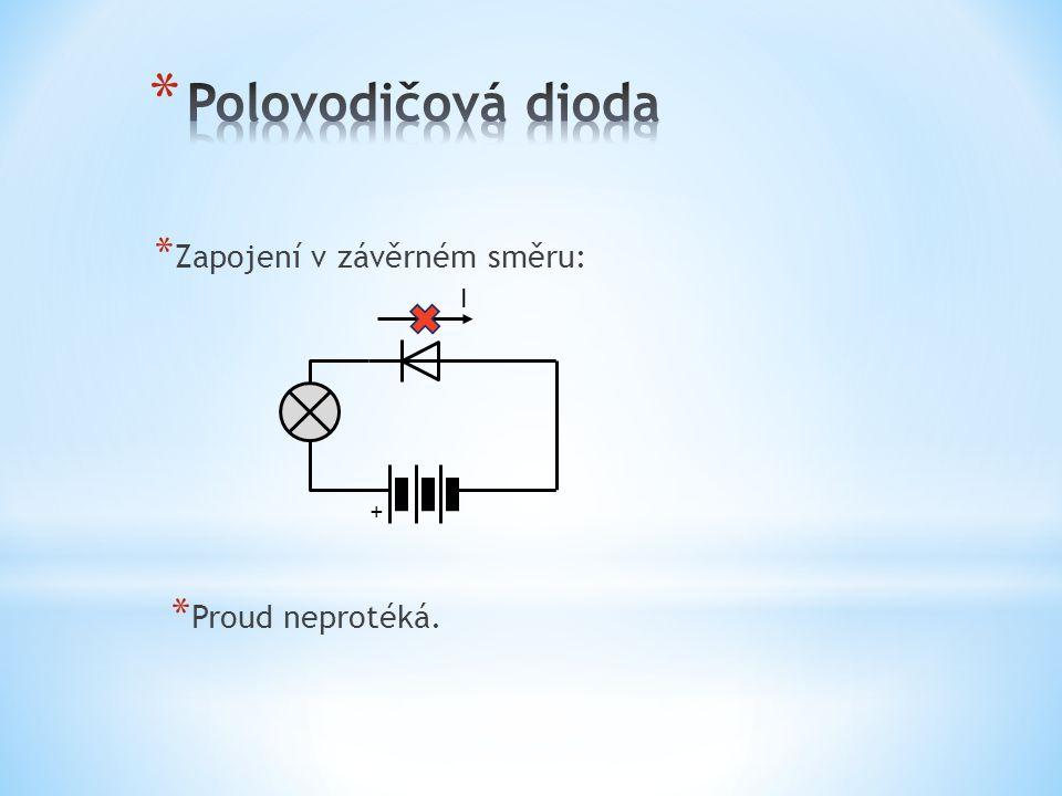 Polovodičová dioda Zapojení v závěrném směru: I + Proud neprotéká.