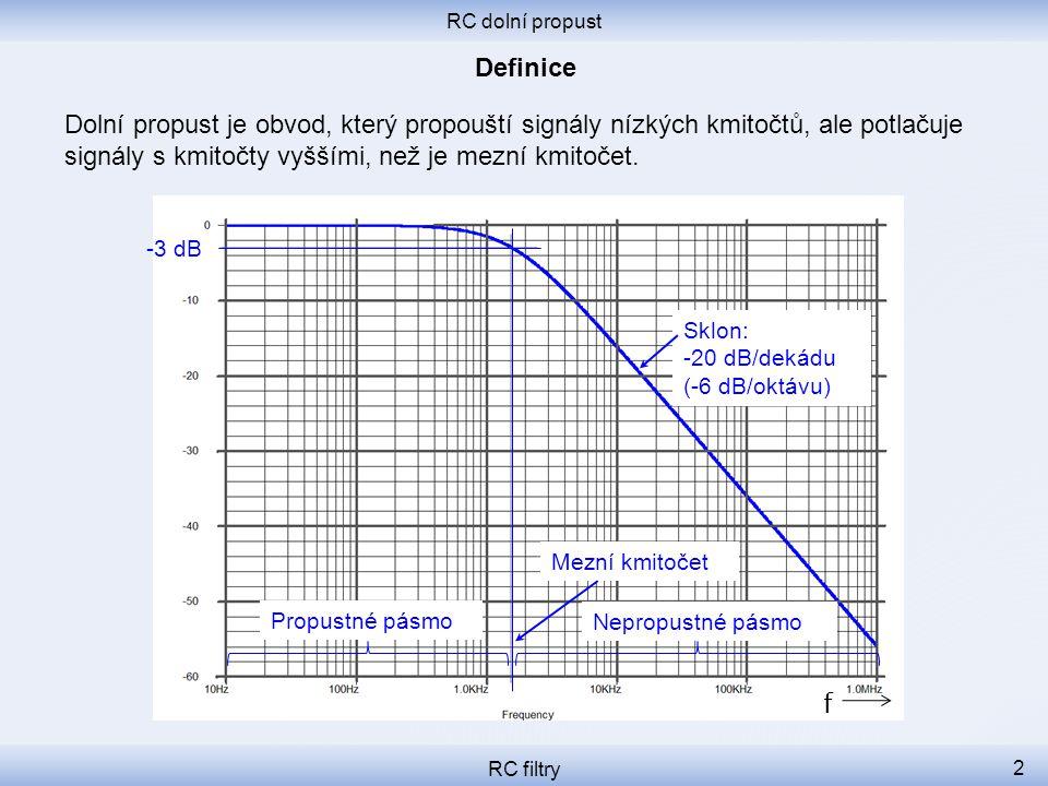 RC dolní propust Definice.