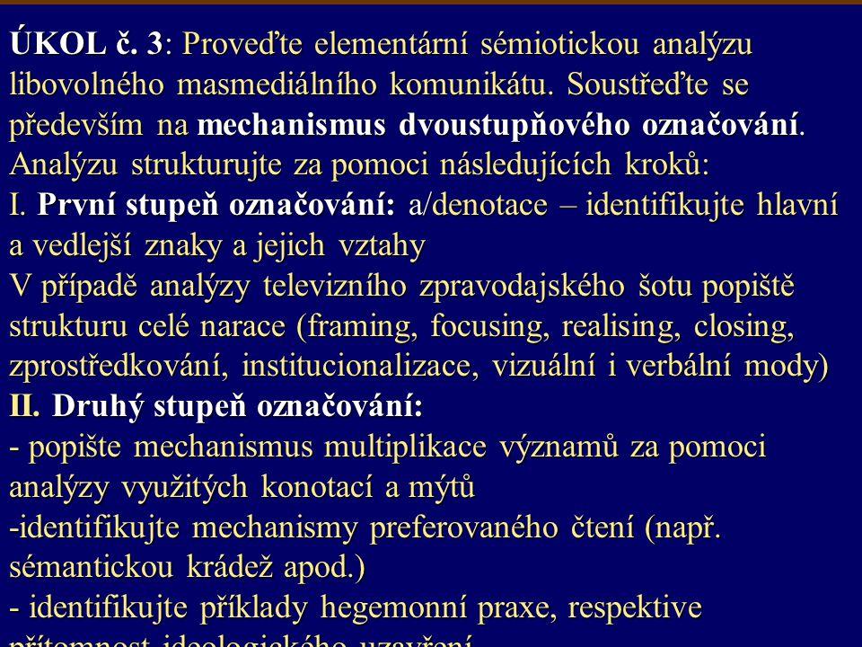 ÚKOL č. 3: Proveďte elementární sémiotickou analýzu libovolného masmediálního komunikátu.