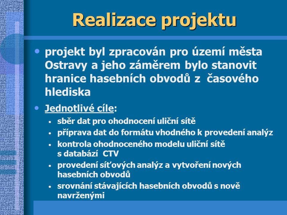 Realizace projektu projekt byl zpracován pro území města Ostravy a jeho záměrem bylo stanovit hranice hasebních obvodů z časového hlediska.