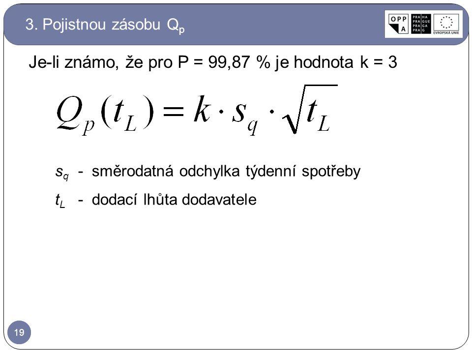 Je-li známo, že pro P = 99,87 % je hodnota k = 3