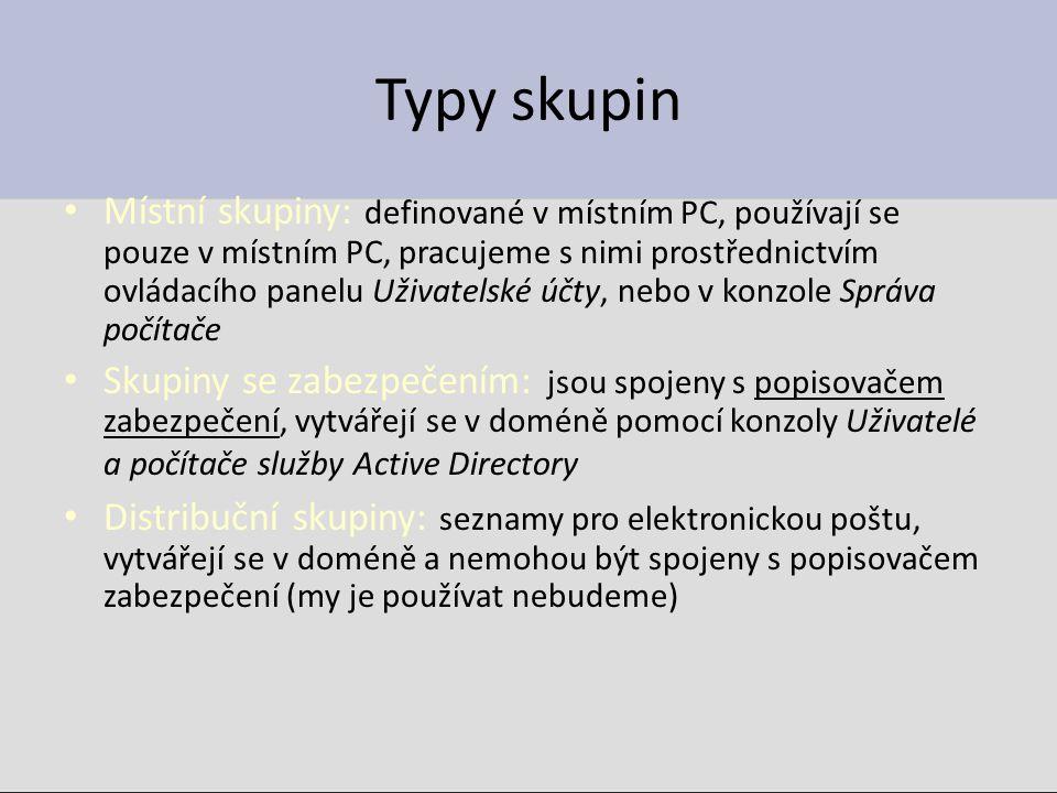 Typy skupin