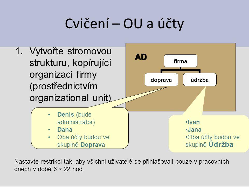 Cvičení – OU a účty Vytvořte stromovou strukturu, kopírující organizaci firmy (prostřednictvím organizational unit)