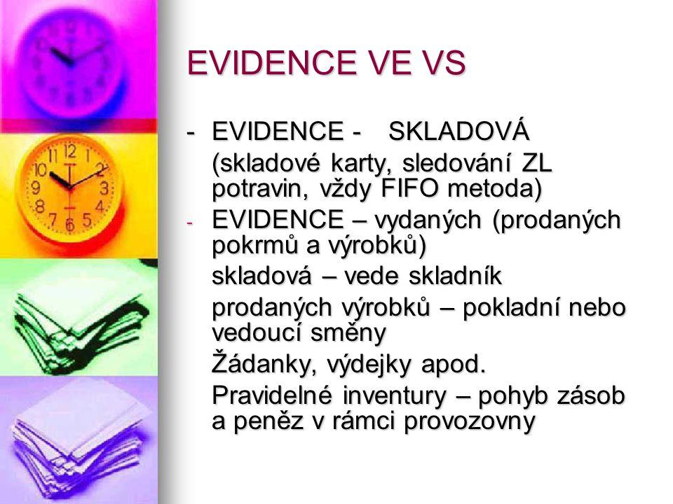 EVIDENCE VE VS - EVIDENCE - SKLADOVÁ