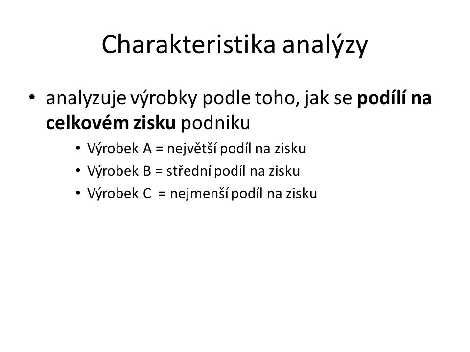 Charakteristika analýzy