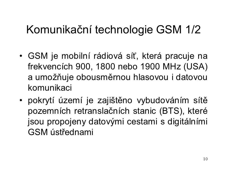 Komunikační technologie GSM 1/2