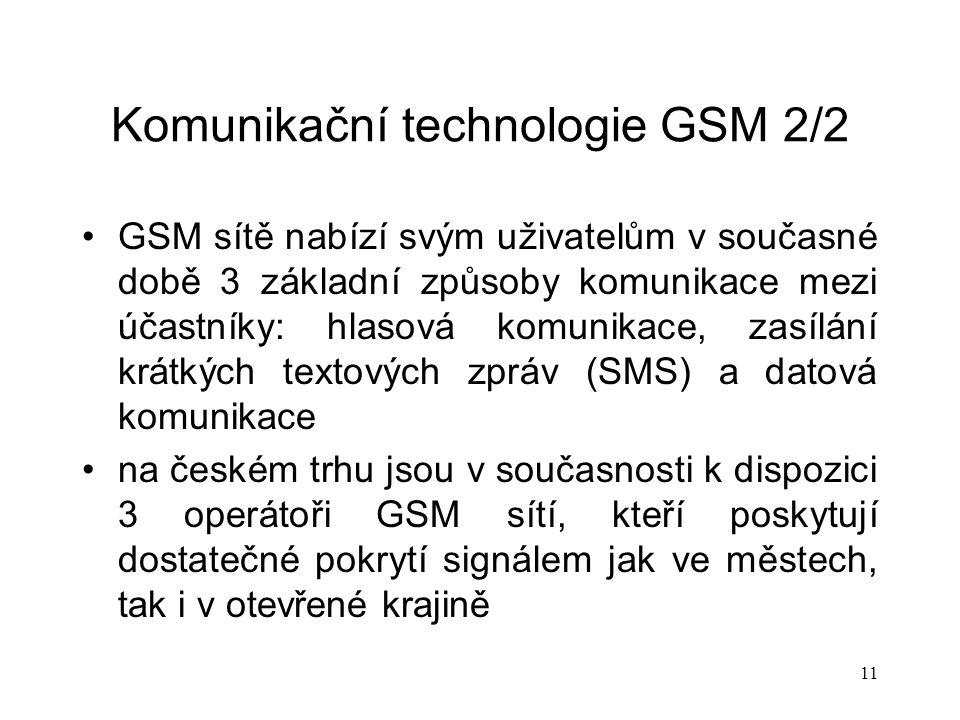 Komunikační technologie GSM 2/2
