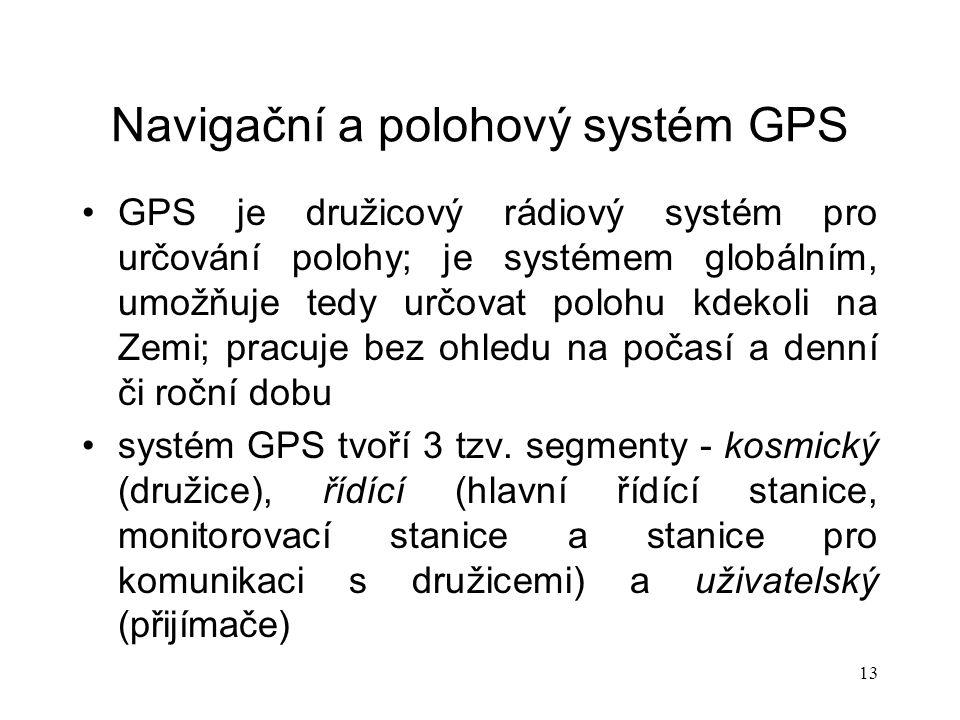 Navigační a polohový systém GPS