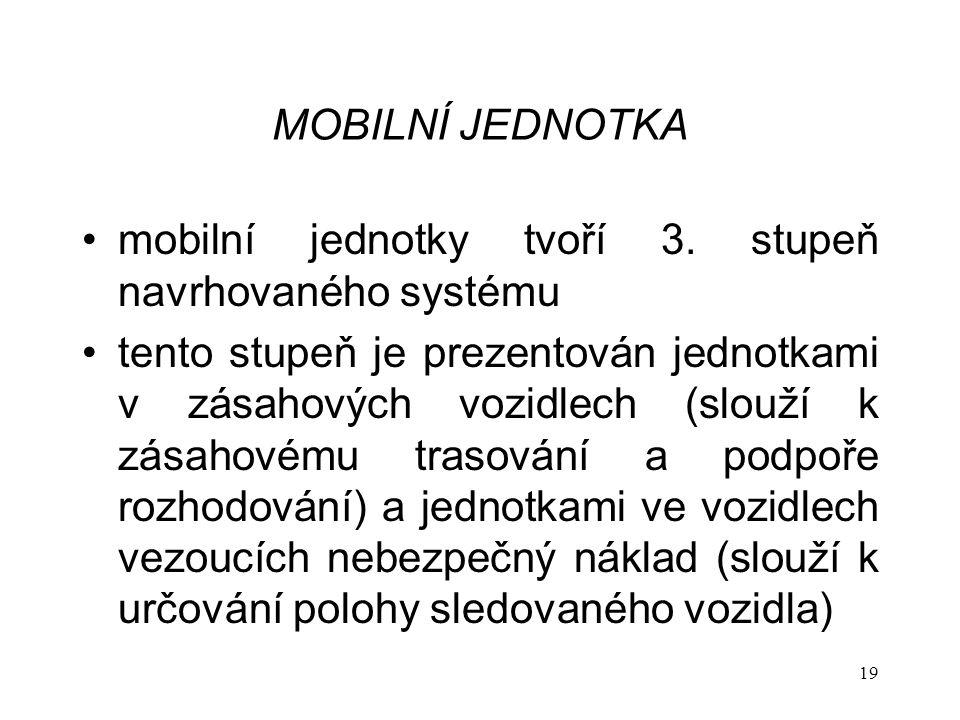 MOBILNÍ JEDNOTKA mobilní jednotky tvoří 3. stupeň navrhovaného systému.