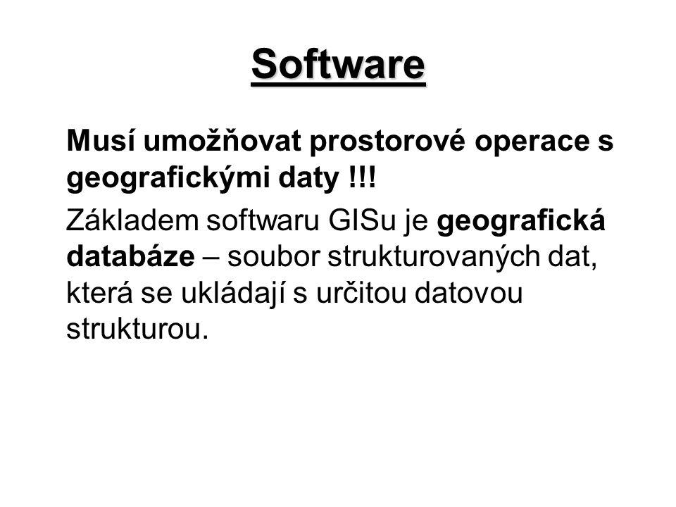 Software Musí umožňovat prostorové operace s geografickými daty !!!