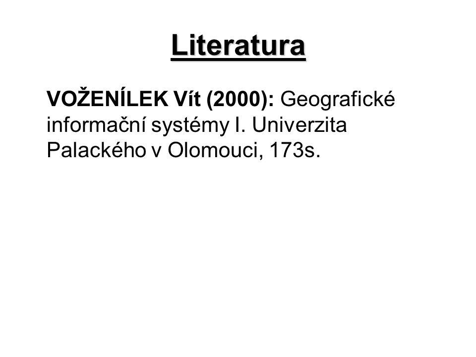 Literatura VOŽENÍLEK Vít (2000): Geografické informační systémy I.
