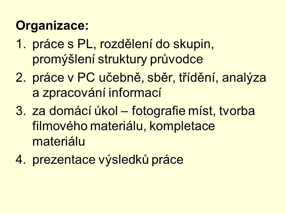 Organizace: práce s PL, rozdělení do skupin, promýšlení struktury průvodce. práce v PC učebně, sběr, třídění, analýza a zpracování informací.