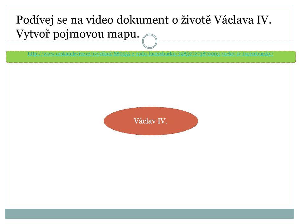 Podívej se na video dokument o životě Václava IV. Vytvoř pojmovou mapu.