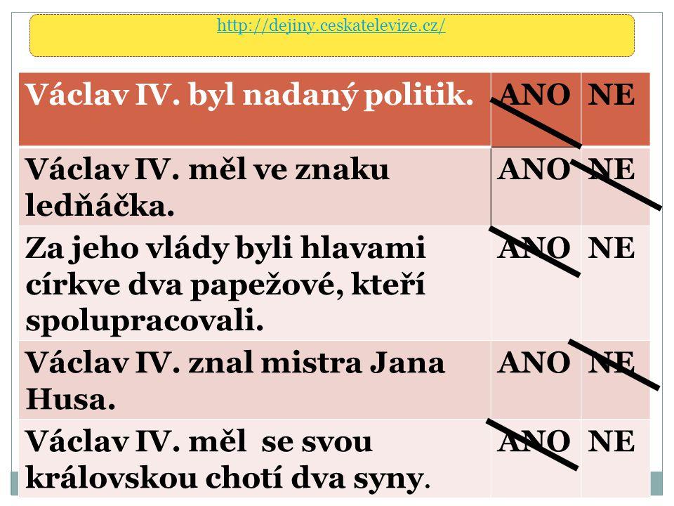 Václav IV. byl nadaný politik. ANO NE
