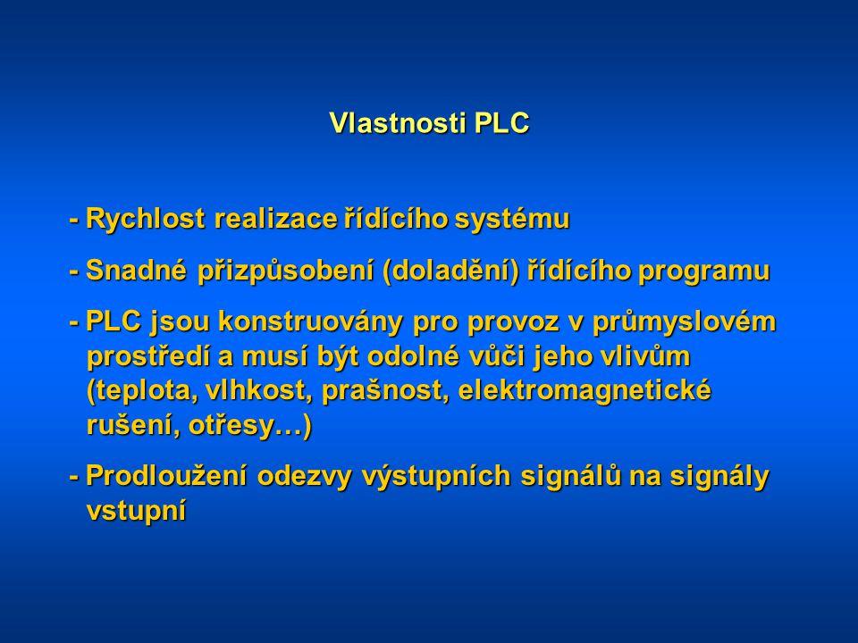 Vlastnosti PLC - Rychlost realizace řídícího systému. - Snadné přizpůsobení (doladění) řídícího programu.