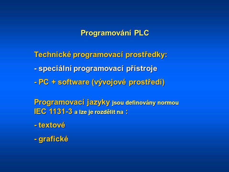 Programování PLC Technické programovací prostředky: - speciální programovací přístroje. - PC + software (vývojové prostředí)