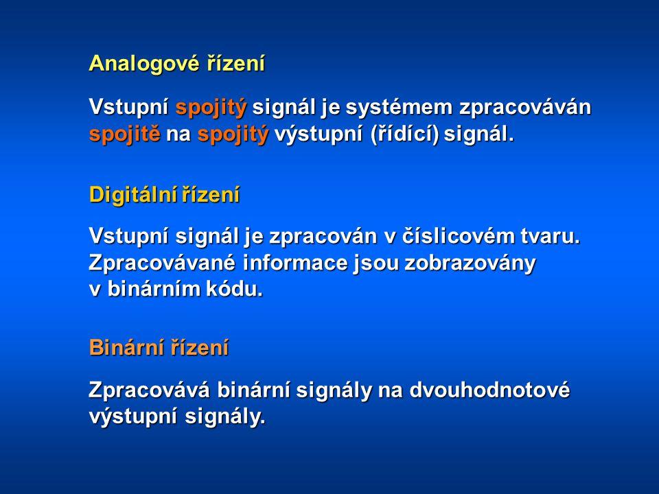Analogové řízení Vstupní spojitý signál je systémem zpracováván spojitě na spojitý výstupní (řídící) signál.